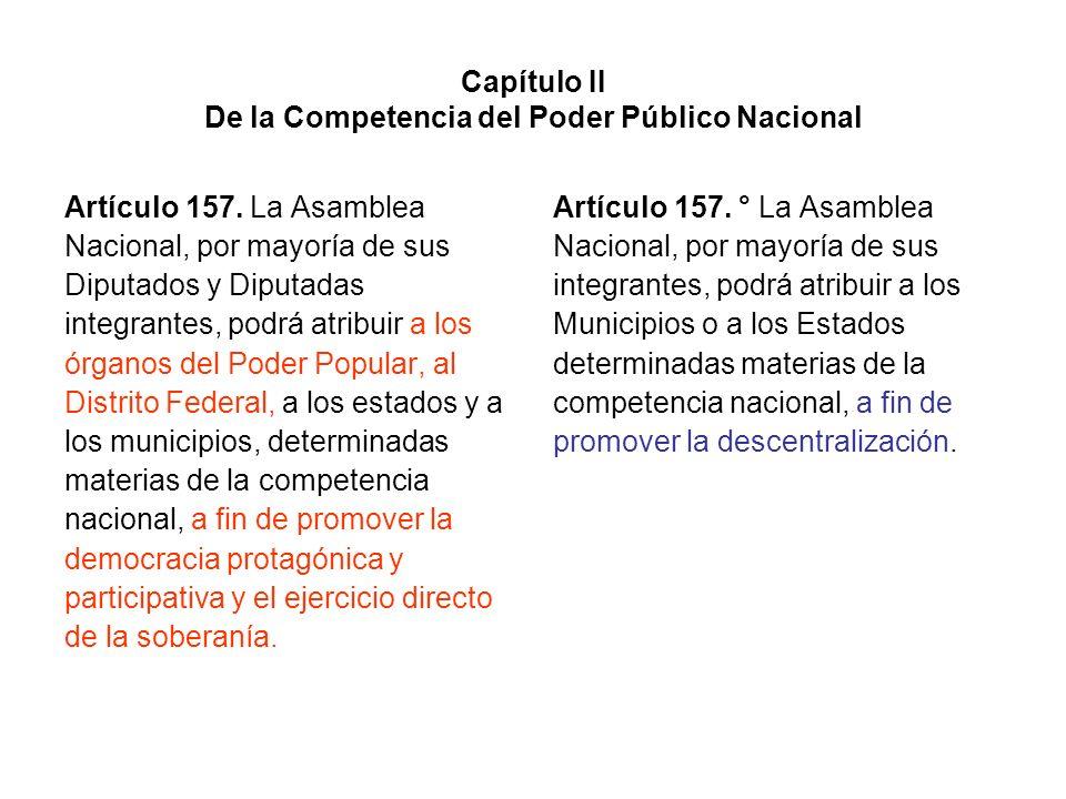 Capítulo II De la Competencia del Poder Público Nacional Artículo 157. La Asamblea Nacional, por mayoría de sus Diputados y Diputadas integrantes, pod