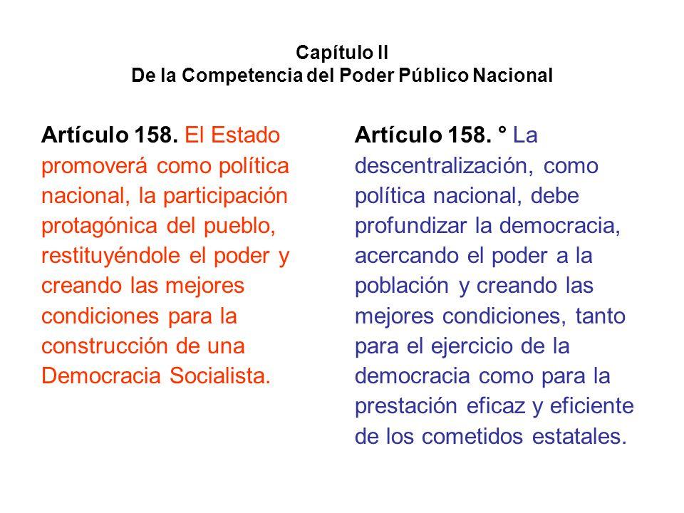 Capítulo II De la Competencia del Poder Público Nacional Artículo 158. El Estado promoverá como política nacional, la participación protagónica del pu