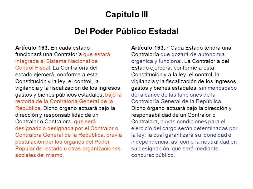 Capítulo III Del Poder Público Estadal Artículo 163. En cada estado funcionará una Contraloría que estará integrada al Sistema Nacional de Control Fis