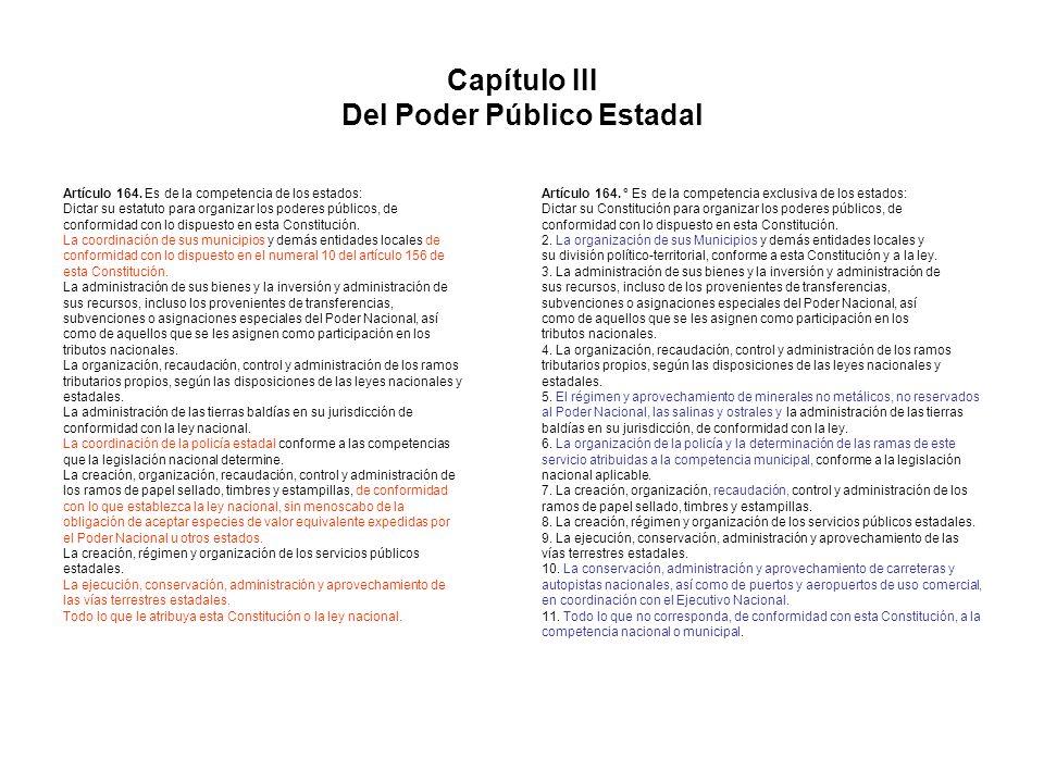 Capítulo III Del Poder Público Estadal Artículo 164. Es de la competencia de los estados: Dictar su estatuto para organizar los poderes públicos, de c