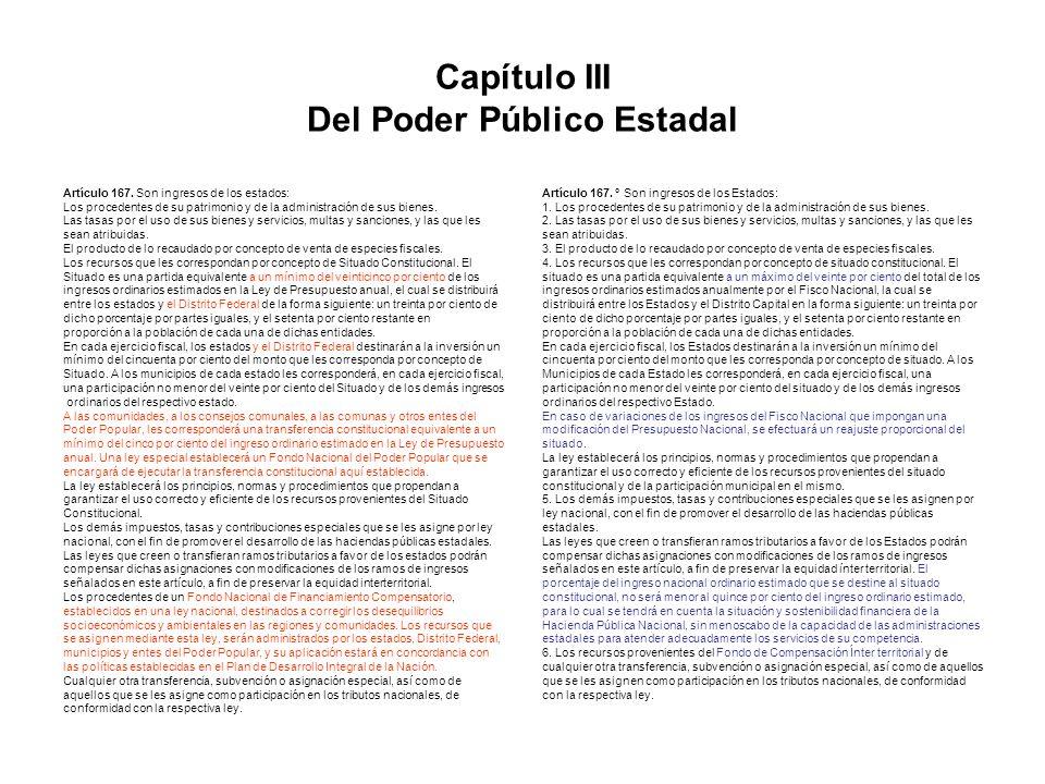 Capítulo III Del Poder Público Estadal Artículo 167. Son ingresos de los estados: Los procedentes de su patrimonio y de la administración de sus biene
