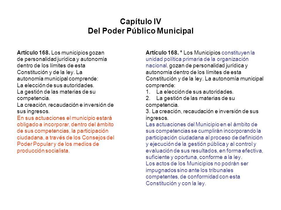 Capítulo IV Del Poder Público Municipal Artículo 168. Los municipios gozan de personalidad jurídica y autonomía dentro de los límites de esta Constitu