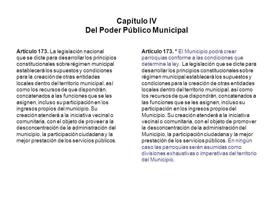 Capítulo IV Del Poder Público Municipal Artículo 173. La legislación nacional que se dicte para desarrollar los principios constitucionales sobre régi