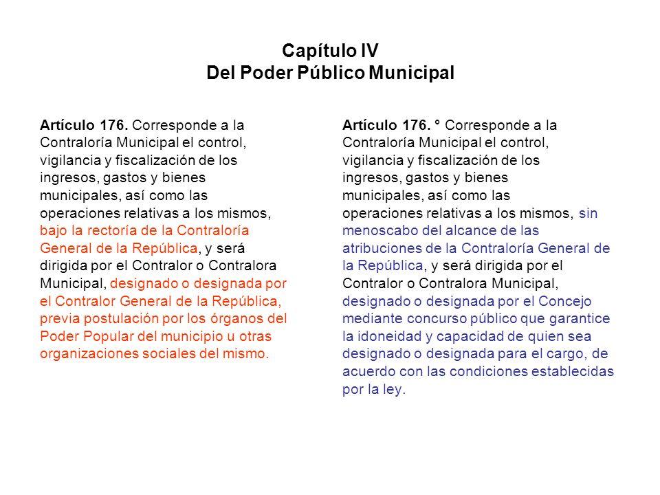 Capítulo IV Del Poder Público Municipal Artículo 176. Corresponde a la Contraloría Municipal el control, vigilancia y fiscalización de los ingresos, g