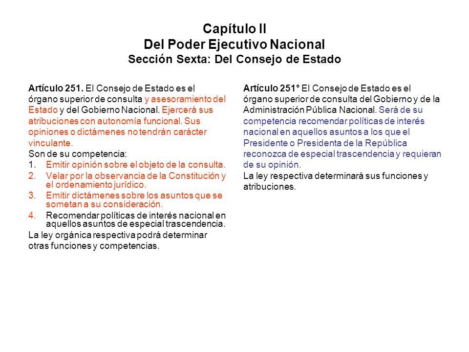 Capítulo II Del Poder Ejecutivo Nacional Sección Sexta: Del Consejo de Estado Artículo 251. El Consejo de Estado es el órgano superior de consulta y a