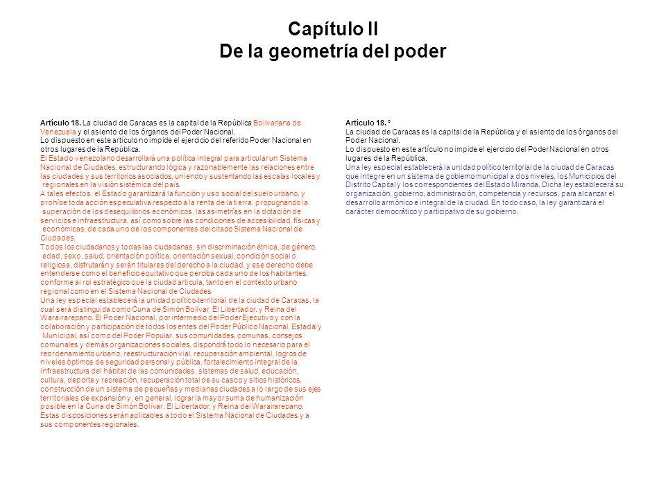Capítulo II De la geometría del poder Artículo 18. La ciudad de Caracas es la capital de la República Bolivariana de Venezuela y el asiento de los órg