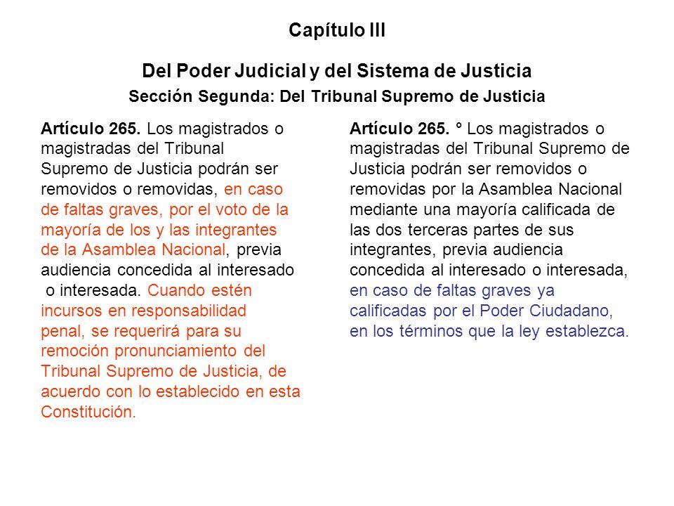 Capítulo III Del Poder Judicial y del Sistema de Justicia Sección Segunda: Del Tribunal Supremo de Justicia Artículo 265. Los magistrados o magistrada