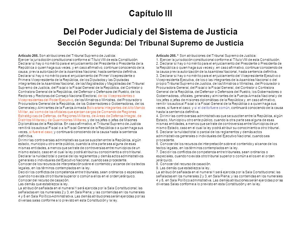 Capítulo III Del Poder Judicial y del Sistema de Justicia Sección Segunda: Del Tribunal Supremo de Justicia Artículo 266. Son atribuciones del Tribuna
