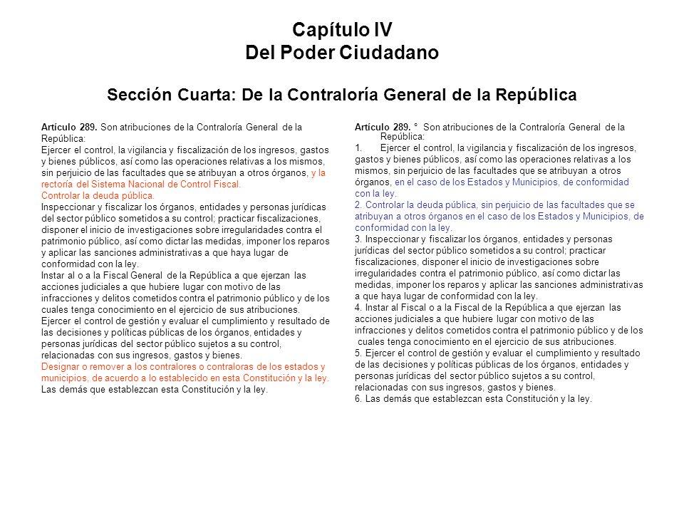 Capítulo IV Del Poder Ciudadano Sección Cuarta: De la Contraloría General de la República Artículo 289. Son atribuciones de la Contraloría General de