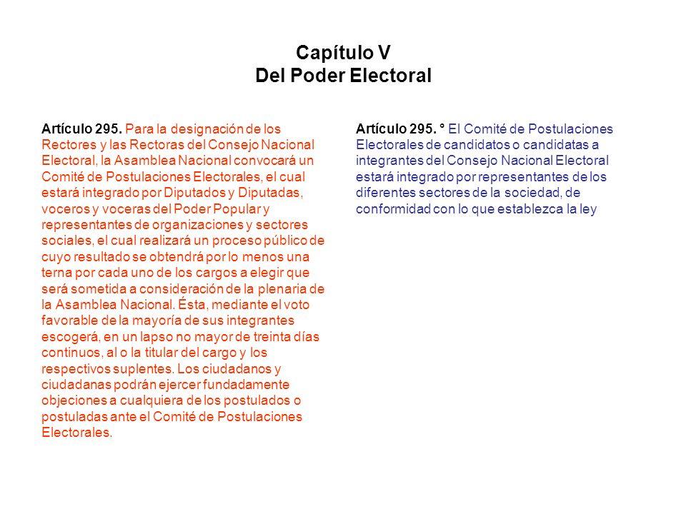 Capítulo V Del Poder Electoral Artículo 295. Para la designación de los Rectores y las Rectoras del Consejo Nacional Electoral, la Asamblea Nacional c