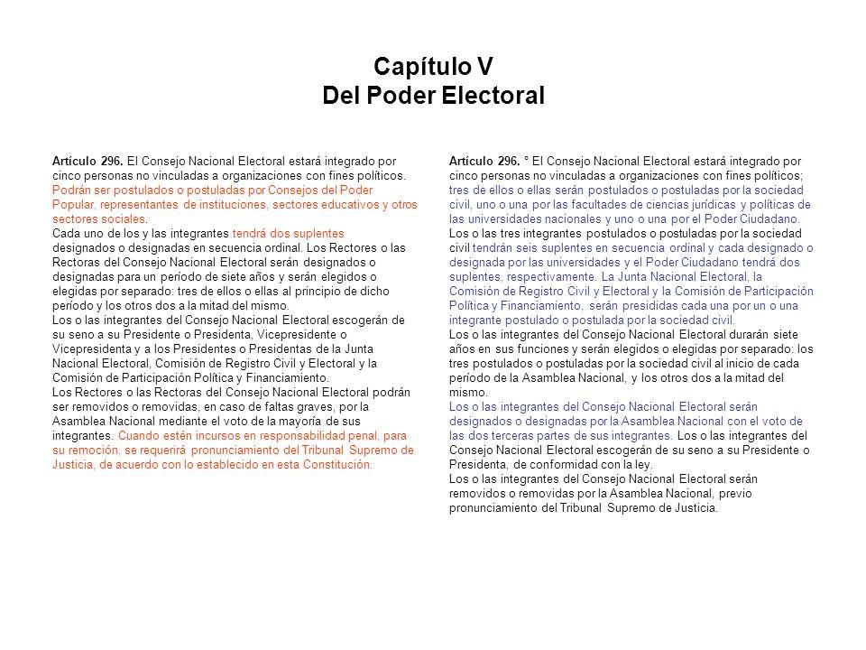 Capítulo V Del Poder Electoral Artículo 296. El Consejo Nacional Electoral estará integrado por cinco personas no vinculadas a organizaciones con fine