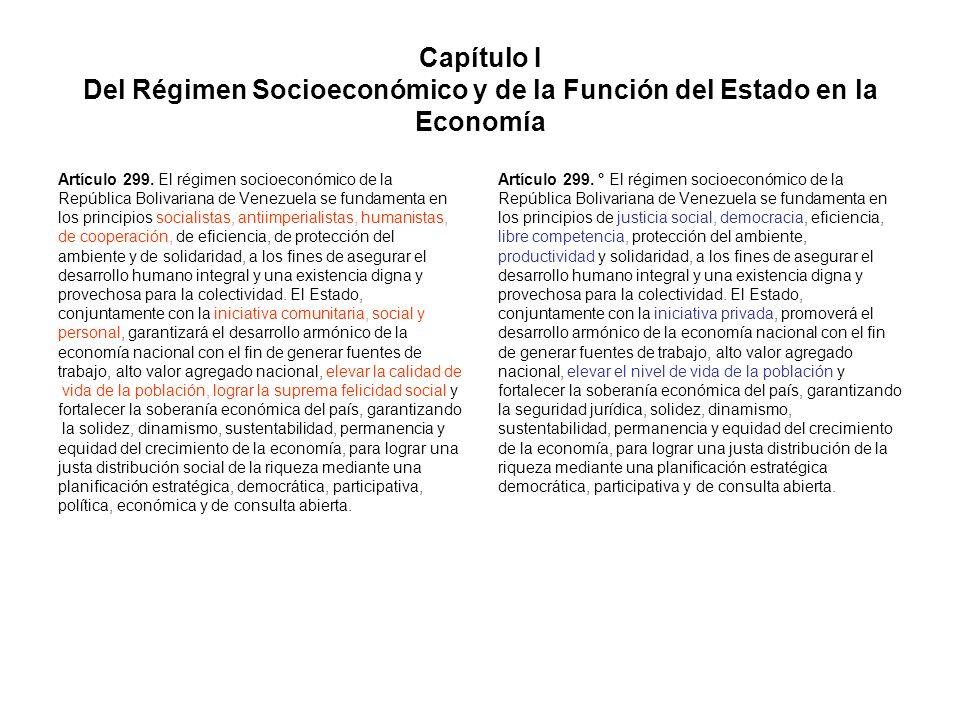 Capítulo I Del Régimen Socioeconómico y de la Función del Estado en la Economía Artículo 299. El régimen socioeconómico de la República Bolivariana de