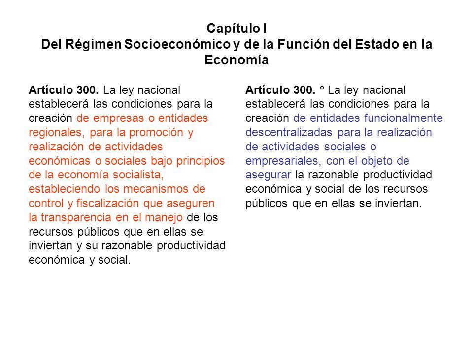 Capítulo I Del Régimen Socioeconómico y de la Función del Estado en la Economía Artículo 300. La ley nacional establecerá las condiciones para la crea