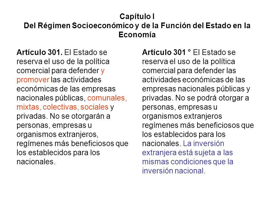 Capítulo I Del Régimen Socioeconómico y de la Función del Estado en la Economía Artículo 301. El Estado se reserva el uso de la política comercial par