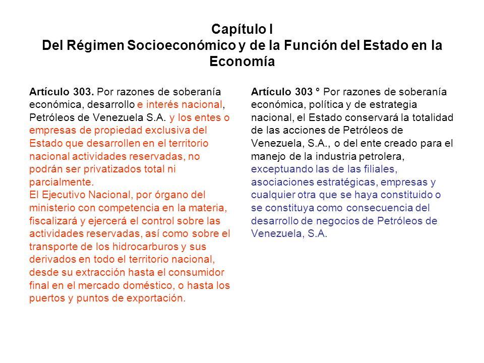 Capítulo I Del Régimen Socioeconómico y de la Función del Estado en la Economía Artículo 303. Por razones de soberanía económica, desarrollo e interés