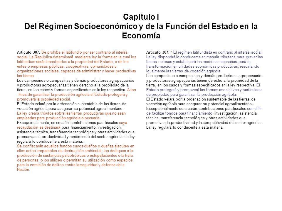 Capítulo I Del Régimen Socioeconómico y de la Función del Estado en la Economía Artículo 307. Se prohíbe el latifundio por ser contrario al interés so