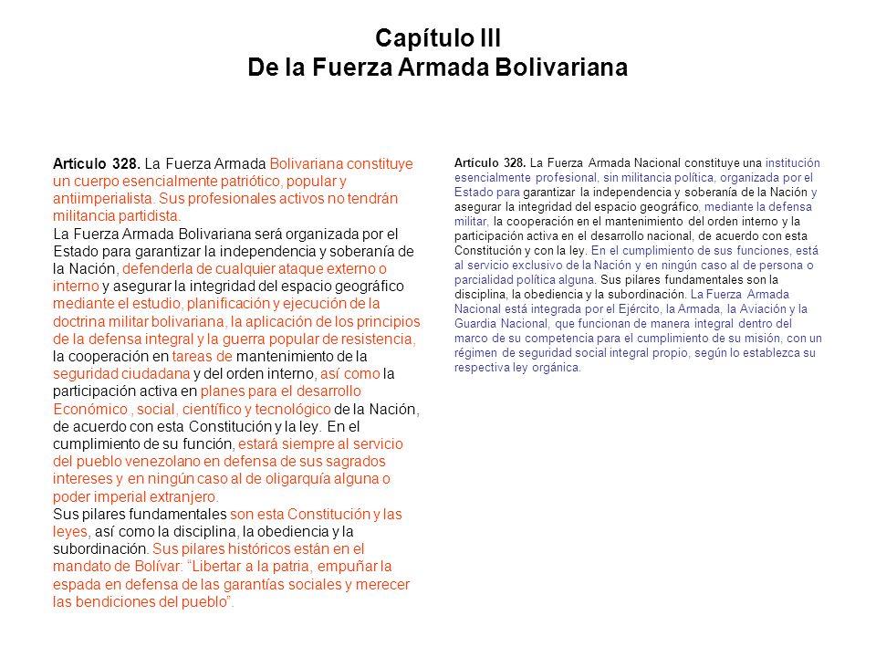 Capítulo III De la Fuerza Armada Bolivariana Artículo 328. La Fuerza Armada Bolivariana constituye un cuerpo esencialmente patriótico, popular y antii
