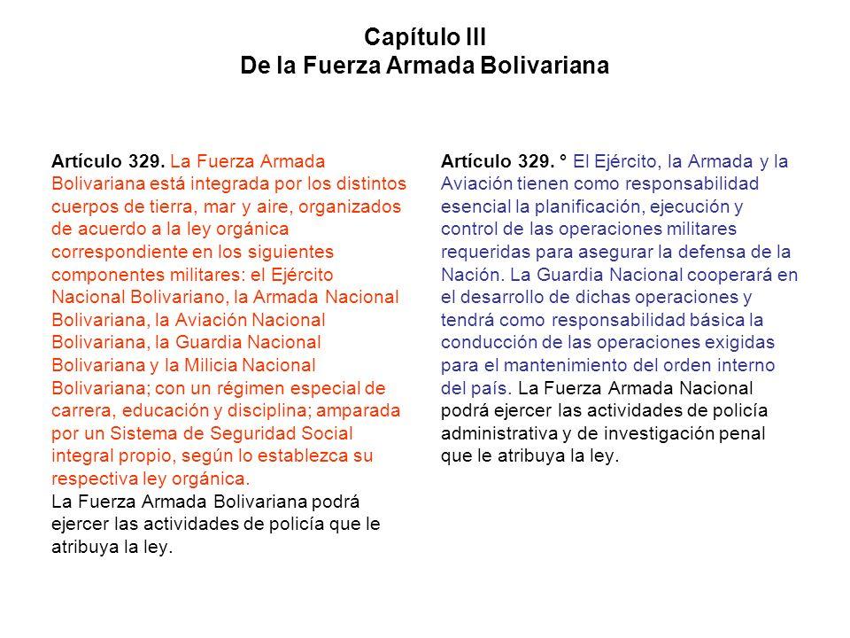 Capítulo III De la Fuerza Armada Bolivariana Artículo 329. La Fuerza Armada Bolivariana está integrada por los distintos cuerpos de tierra, mar y aire