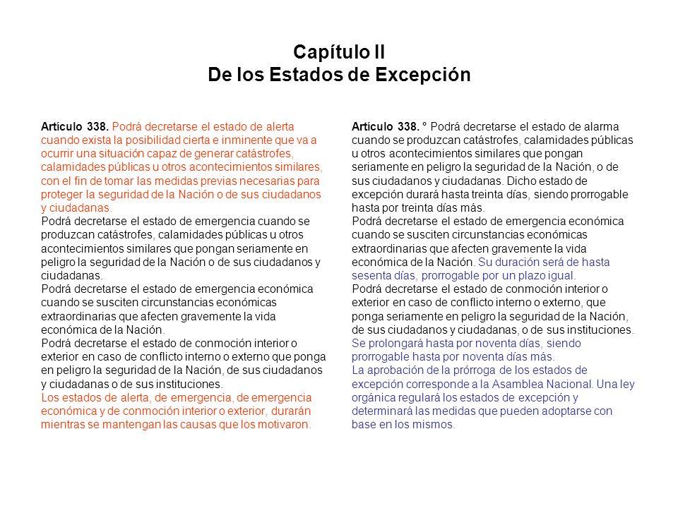 Capítulo II De los Estados de Excepción Artículo 338. Podrá decretarse el estado de alerta cuando exista la posibilidad cierta e inminente que va a oc