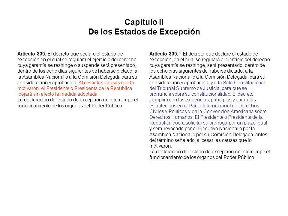 Capítulo II De los Estados de Excepción Artículo 339. El decreto que declare el estado de excepción en el cual se regulará el ejercicio del derecho cu