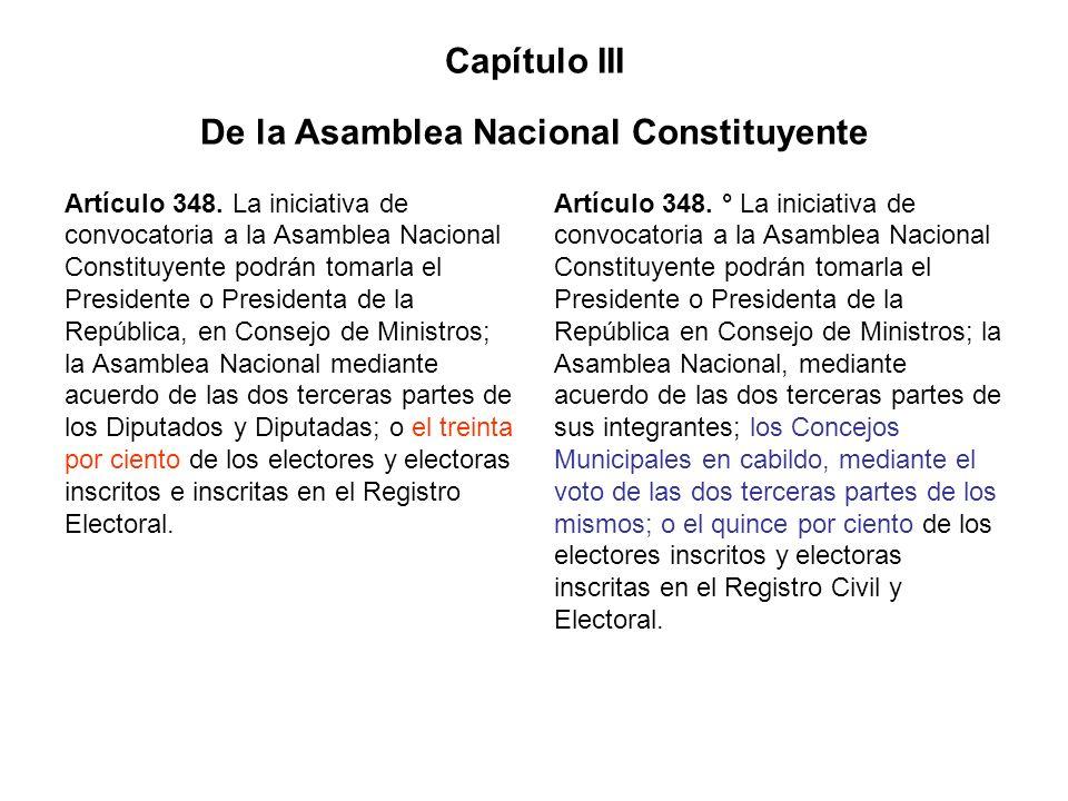 Capítulo III De la Asamblea Nacional Constituyente Artículo 348. La iniciativa de convocatoria a la Asamblea Nacional Constituyente podrán tomarla el