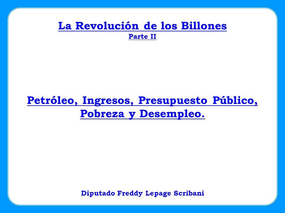 Petróleo, Ingresos, Presupuesto Público, Pobreza y Desempleo. La Revolución de los Billones Parte II Diputado Freddy Lepage Scribani
