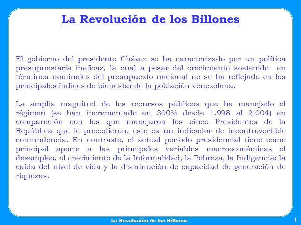 La Revolución de los Billones 1 El gobierno del presidente Chávez se ha caracterizado por un política presupuestaria ineficaz, la cual a pesar del crecimiento sostenido en términos nominales del presupuesto nacional no se ha reflejado en los principales índices de bienestar de la población venezolana.