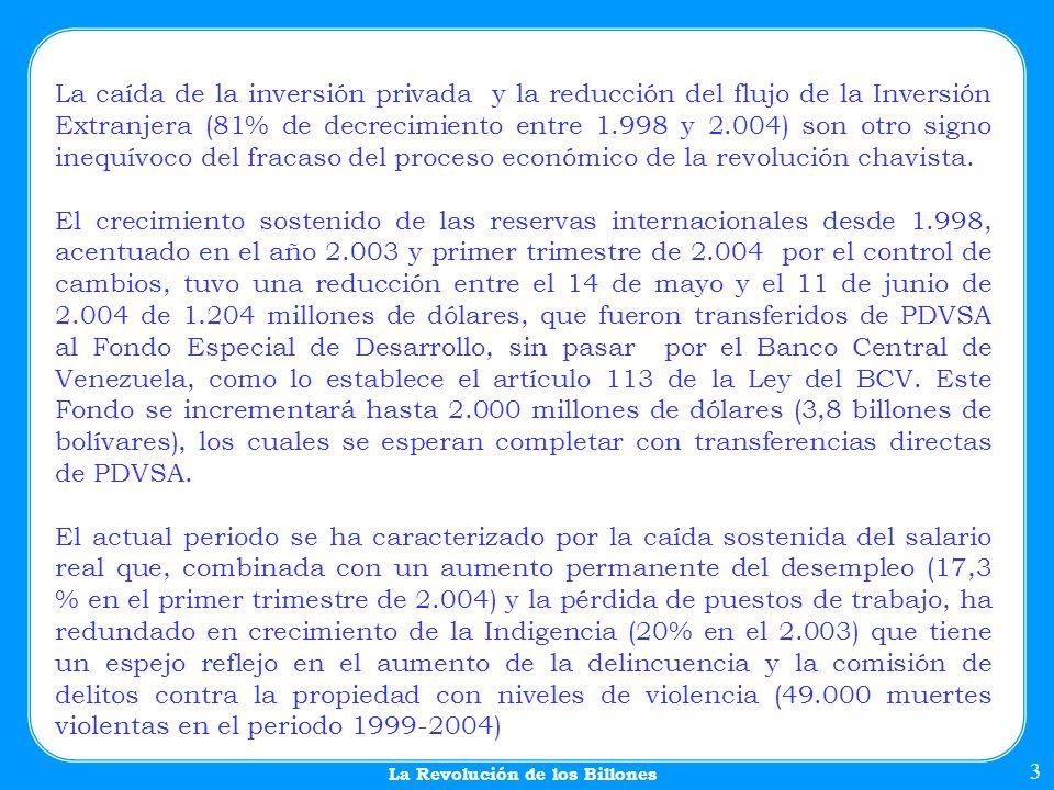 A principios de la gestión del gobierno de Chávez, en 1999, el presupuesto público no superaba los 14 Billones de Bs.