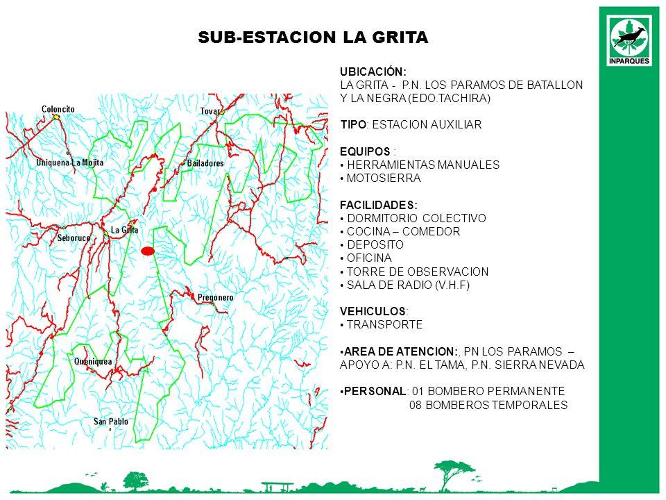 SUB-ESTACION LA GRITA UBICACIÓN: LA GRITA - P.N. LOS PARAMOS DE BATALLON Y LA NEGRA (EDO.TACHIRA) TIPO: ESTACION AUXILIAR EQUIPOS : HERRAMIENTAS MANUA