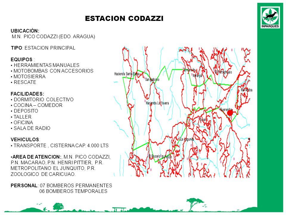 ESTACION CODAZZI UBICACIÓN: M.N. PICO CODAZZI (EDO. ARAGUA) TIPO: ESTACION PRINCIPAL EQUIPOS : HERRAMIENTAS MANUALES MOTOBOMBAS CON ACCESORIOS MOTOSIE