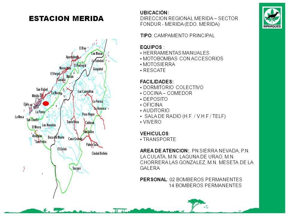 ESTACION MERIDA MAR UBICACIÓN: DIRECCION REGIONAL MERIDA – SECTOR FONDUR - MERIDA (EDO. MERIDA) TIPO: CAMPAMENTO PRINCIPAL EQUIPOS : HERRAMIENTAS MANU