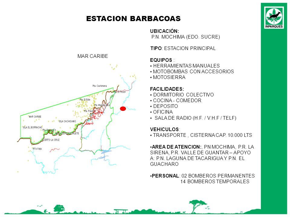 ESTACION BARBACOAS MAR CARIBE UBICACIÓN: P.N. MOCHIMA (EDO. SUCRE) TIPO: ESTACION PRINCIPAL EQUIPOS : HERRAMIENTAS MANUALES MOTOBOMBAS CON ACCESORIOS