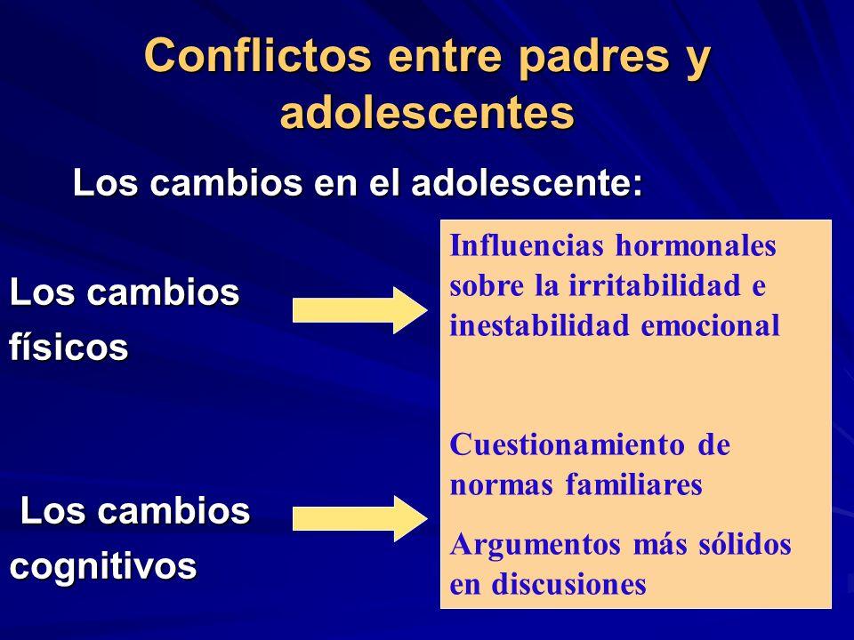 Conflictos entre padres y adolescentes Los cambios en el adolescente: Los cambios en el adolescente: Los cambios físicos Los cambios Los cambioscognit