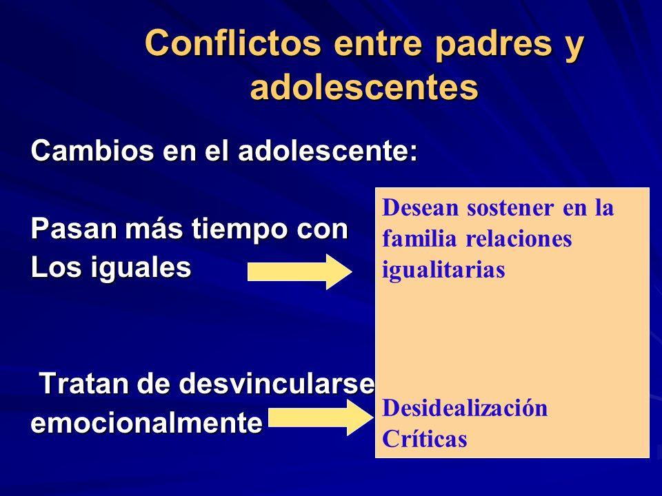 Conflictos entre padres y adolescentes Cambios en el adolescente: Pasan más tiempo con Los iguales Tratan de desvincularse Tratan de desvincularseemoc