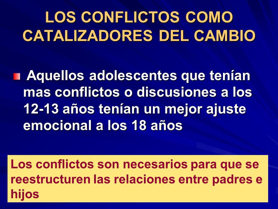 LOS CONFLICTOS COMO CATALIZADORES DEL CAMBIO Aquellos adolescentes que tenían mas conflictos o discusiones a los 12-13 años tenían un mejor ajuste emo