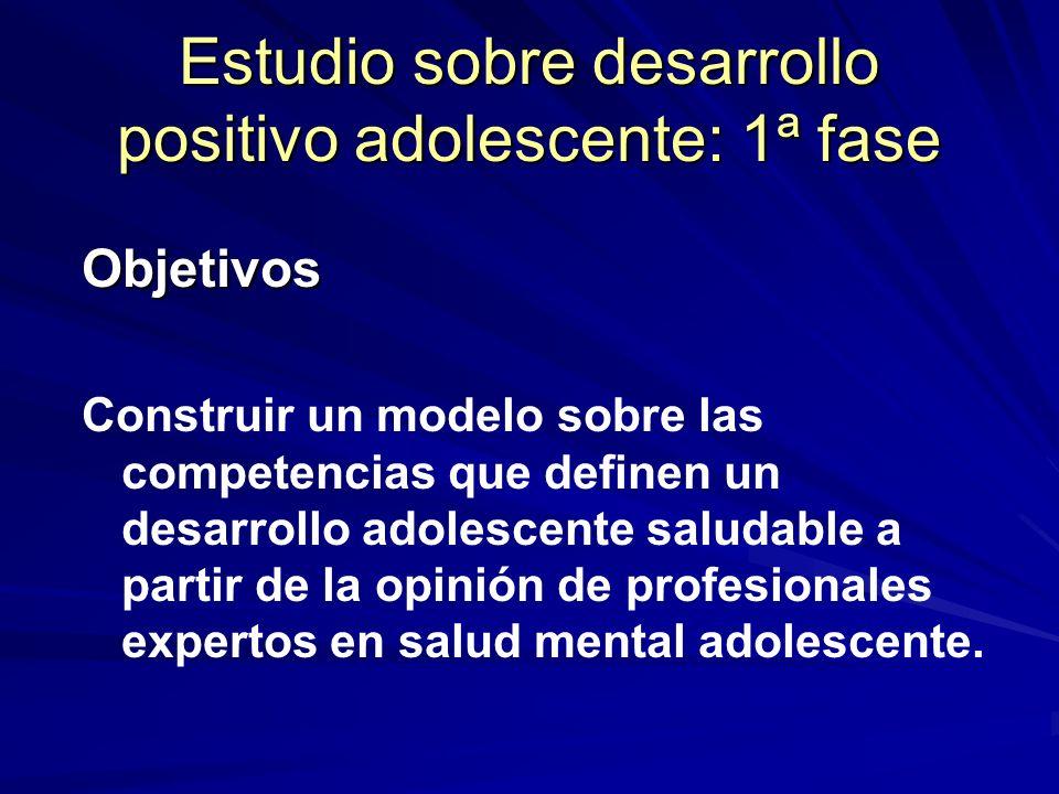 Estudio sobre desarrollo positivo adolescente: 1ª fase Objetivos Construir un modelo sobre las competencias que definen un desarrollo adolescente salu