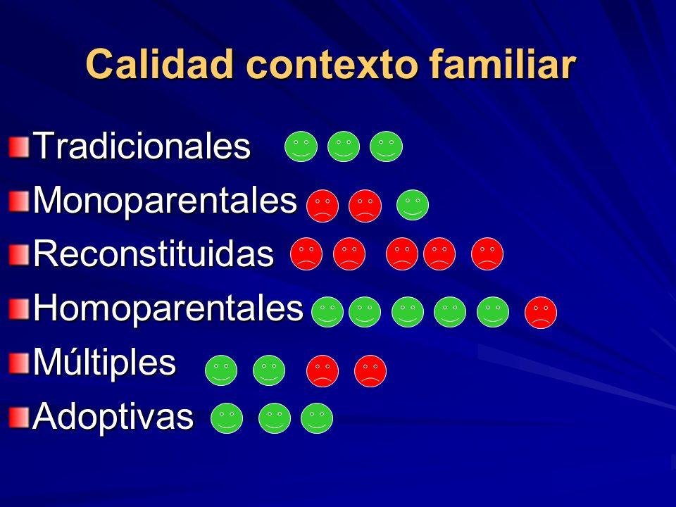 Calidad contexto familiar TradicionalesMonoparentalesReconstituidasHomoparentalesMúltiplesAdoptivas