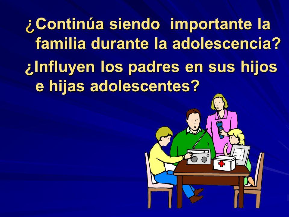 ¿ Continúa siendo importante la familia durante la adolescencia? ¿Influyen los padres en sus hijos e hijas adolescentes?