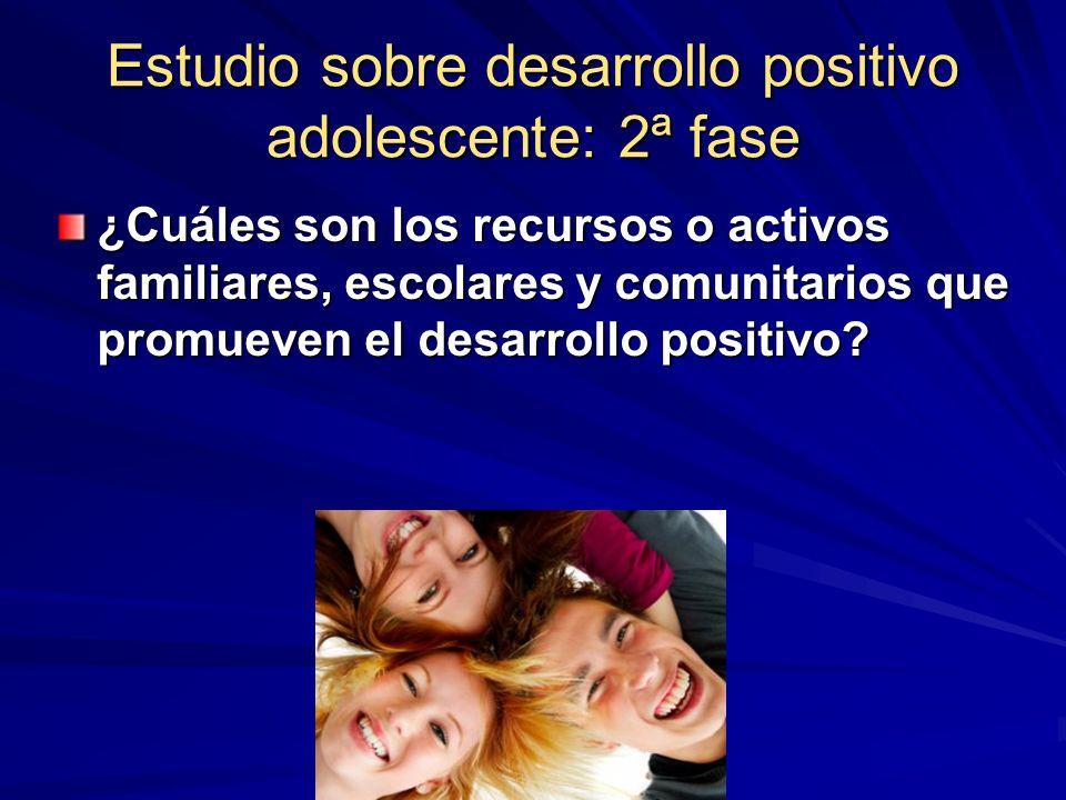Estudio sobre desarrollo positivo adolescente: 2ª fase ¿Cuáles son los recursos o activos familiares, escolares y comunitarios que promueven el desarr