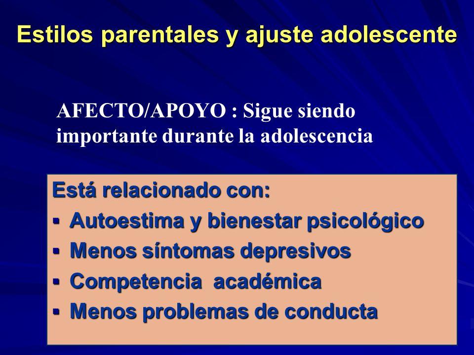Estilos parentales y ajuste adolescente Está relacionado con: Autoestima y bienestar psicológico Autoestima y bienestar psicológico Menos síntomas dep
