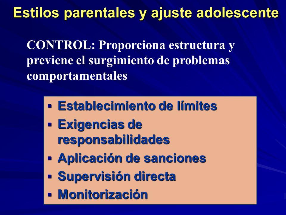 Estilos parentales y ajuste adolescente Establecimiento de límites Establecimiento de límites Exigencias de responsabilidades Exigencias de responsabi