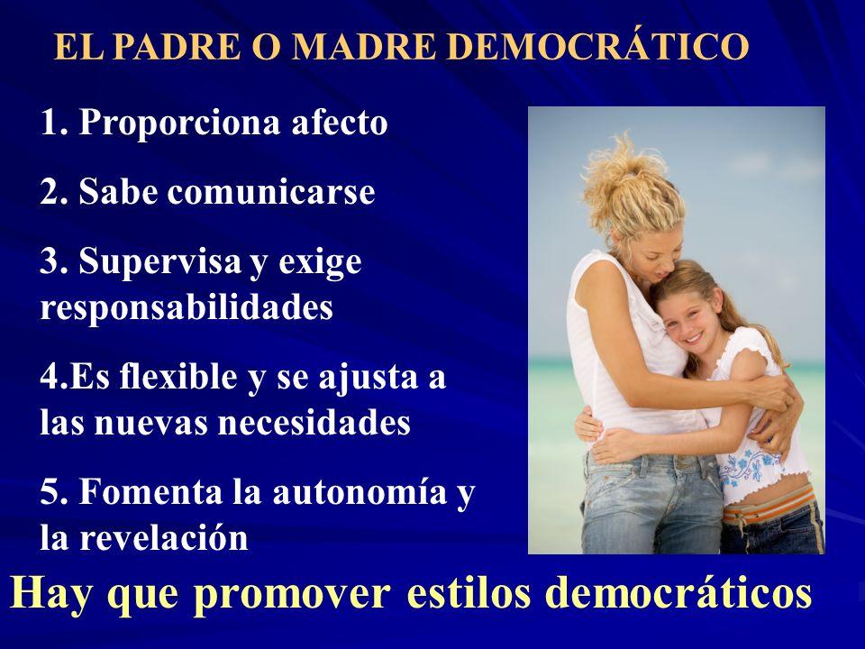EL PADRE O MADRE DEMOCRÁTICO 1. Proporciona afecto 2. Sabe comunicarse 3. Supervisa y exige responsabilidades 4.Es flexible y se ajusta a las nuevas n
