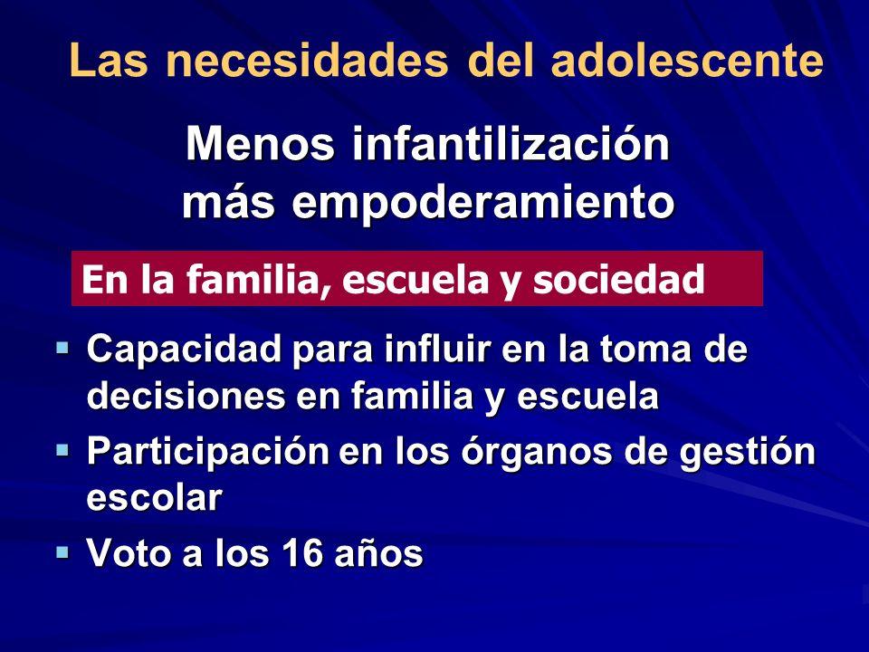 Menos infantilización más empoderamiento Capacidad para influir en la toma de decisiones en familia y escuela Capacidad para influir en la toma de dec