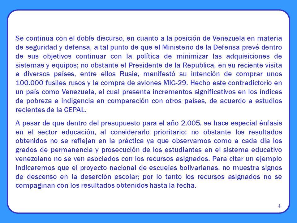 Se continua con el doble discurso, en cuanto a la posición de Venezuela en materia de seguridad y defensa, a tal punto de que el Ministerio de la Defe