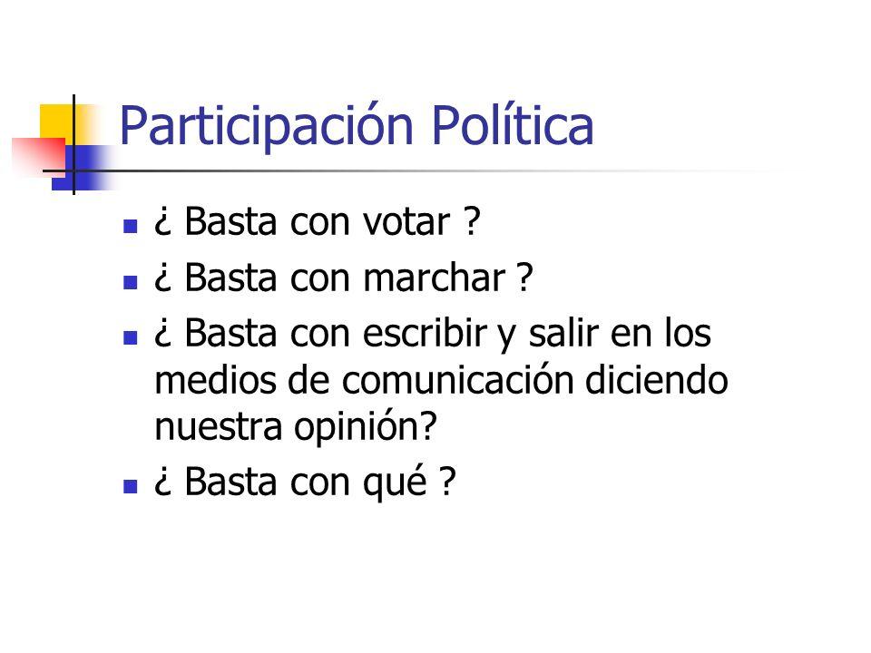 Participación Política ¿ Basta con votar ? ¿ Basta con marchar ? ¿ Basta con escribir y salir en los medios de comunicación diciendo nuestra opinión?