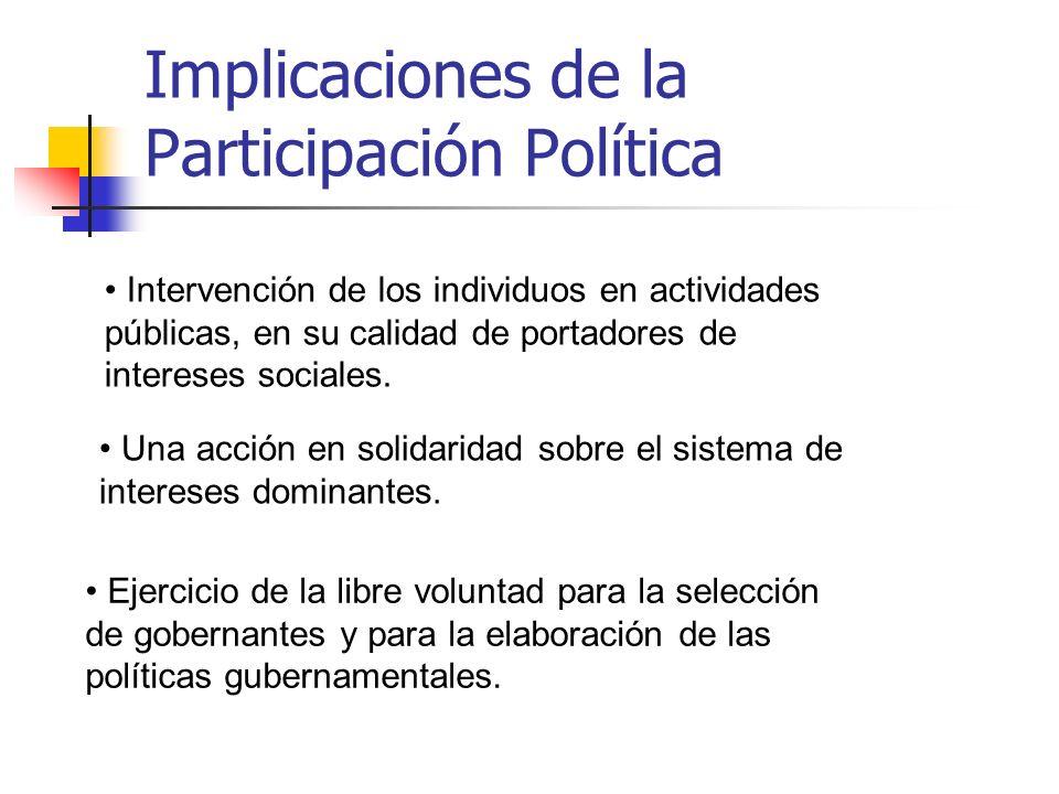 Implicaciones de la Participación Política Intervención de los individuos en actividades públicas, en su calidad de portadores de intereses sociales.