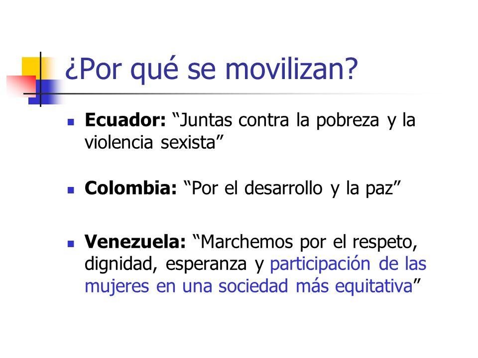 ¿Por qué se movilizan? Ecuador: Juntas contra la pobreza y la violencia sexista Colombia: Por el desarrollo y la paz Venezuela: Marchemos por el respe