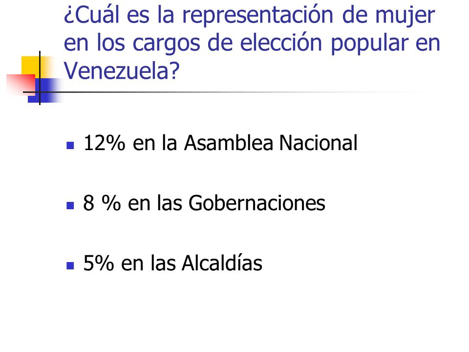 ¿Cuál es la representación de mujer en los cargos de elección popular en Venezuela? 12% en la Asamblea Nacional 8 % en las Gobernaciones 5% en las Alc
