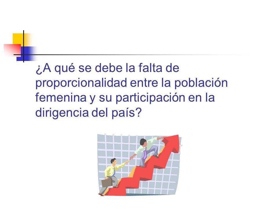 ¿A qué se debe la falta de proporcionalidad entre la población femenina y su participación en la dirigencia del país?