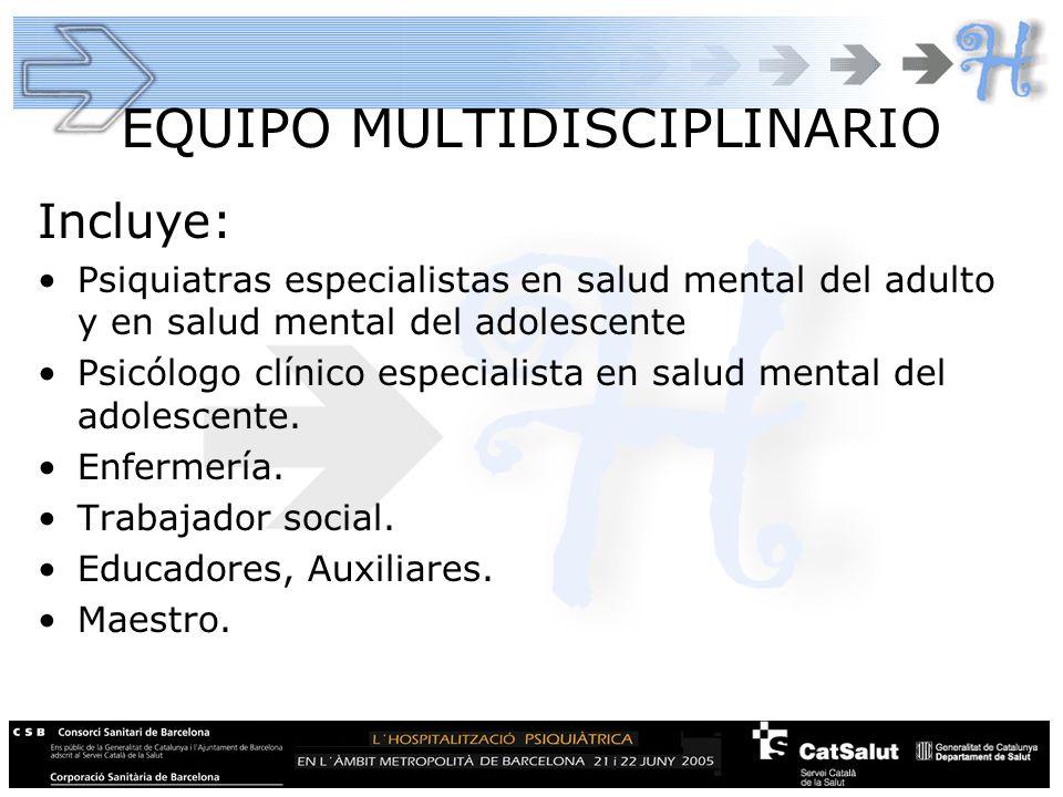 EQUIPO MULTIDISCIPLINARIO Incluye: Psiquiatras especialistas en salud mental del adulto y en salud mental del adolescente Psicólogo clínico especialis